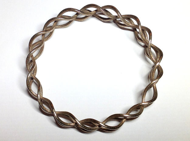 Helix Weave Bracelet (60mm) 3d printed top view, in stainless steel