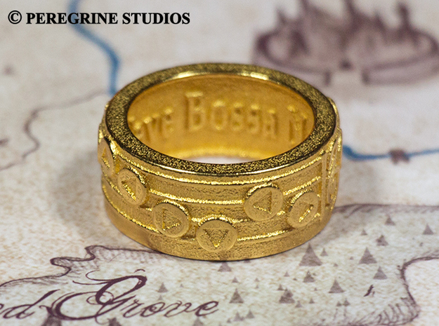 Ring - New Wave Bossa Nova (Size 9) 3d printed Gold Plated Glossy