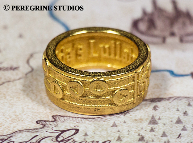 Ring - Zelda's Lullaby (Size 8) 3d printed Gold Plated Glossy