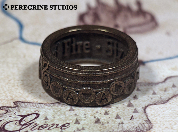 Ring - Bolero of Fire (Size 10) 3d printed Antique Bronze Glossy