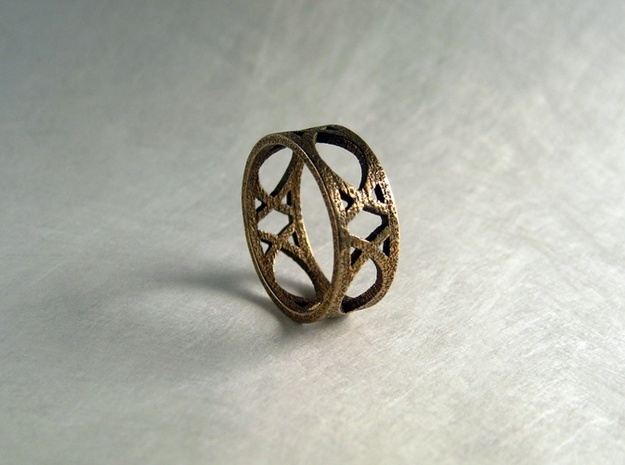 Deco Ring : size 8 3d printed Stainless Steel