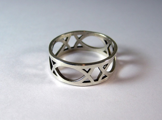 Deco Ring : size 8 3d printed Polished Silver