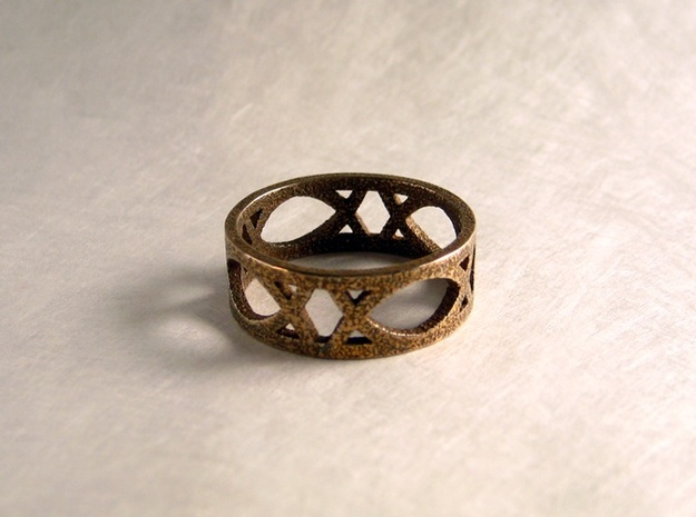 Deco Ring : size 8.5 3d printed Stainless Steel