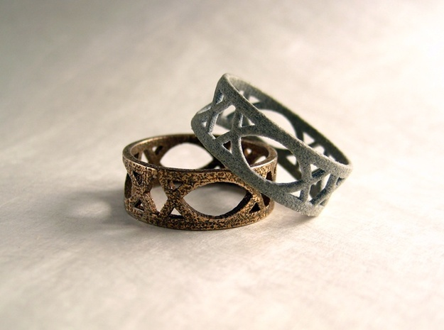 Deco Ring : size 9 3d printed Stainless Steel and Alumide