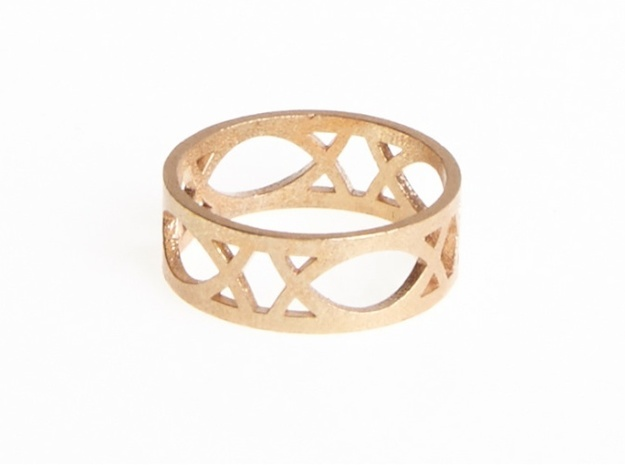 Deco Ring : size 9 3d printed Raw Bronze