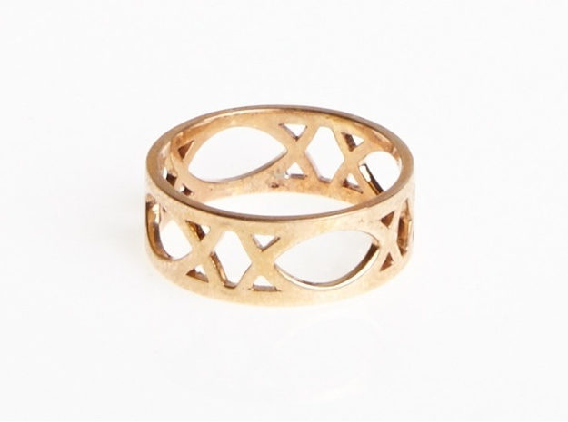 Deco Ring : size 9 3d printed Polished Bronze