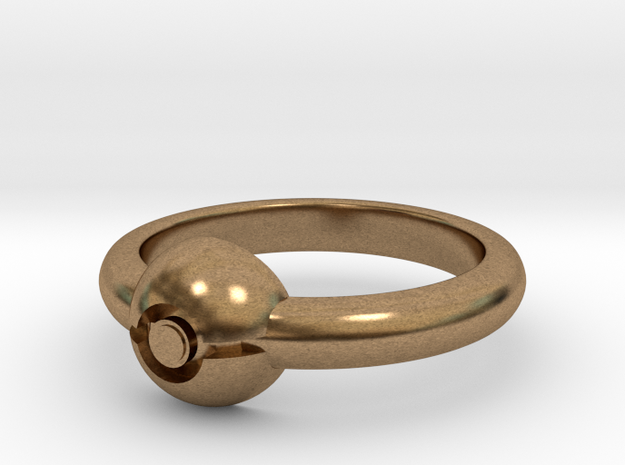 Pokeball Ring - Thin Band (Size 9) 3d printed