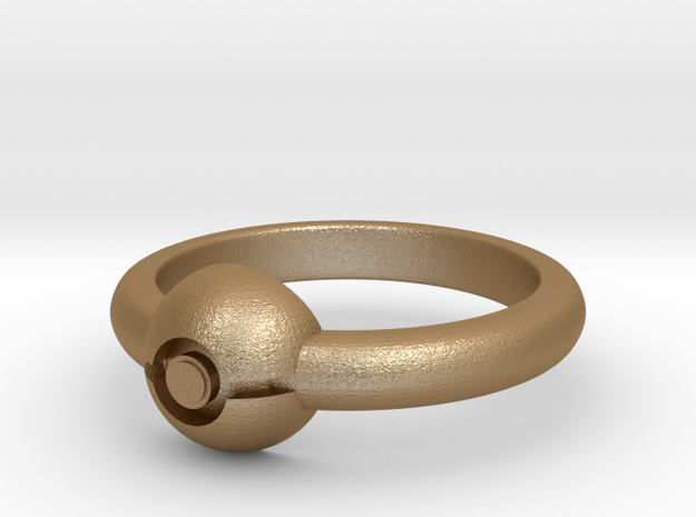 Pokeball Ring - Thin Band (Size 8) 3d printed