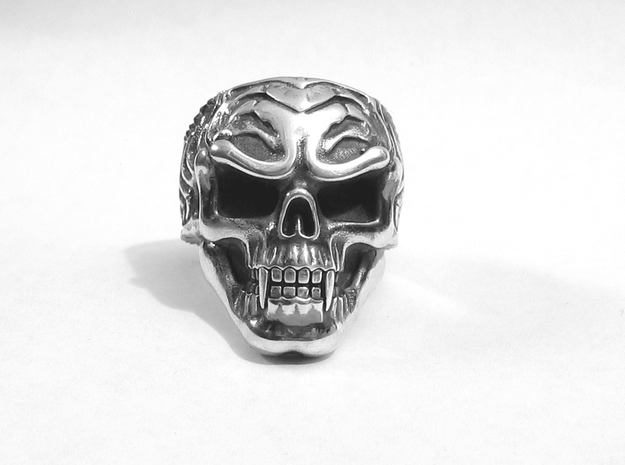 Vampire Skull Ring - Size 11 3d printed Silver Glossy with Aftermarket patina