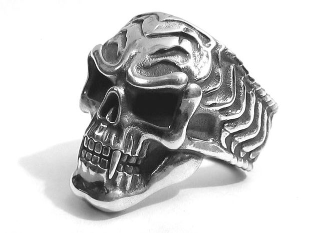 Vampire Skull Ring - Size 12 3d printed Silver Glossy with Aftermarket patina