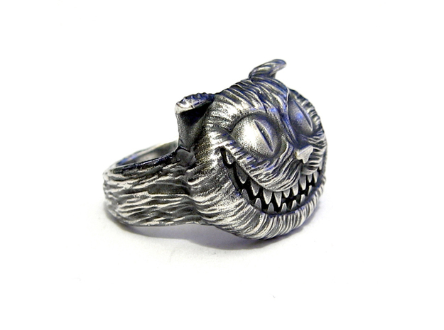 Cheshire Cat - Size 11 3d printed Raw Silver - Aftermarket Patina and lightly polished afterwards