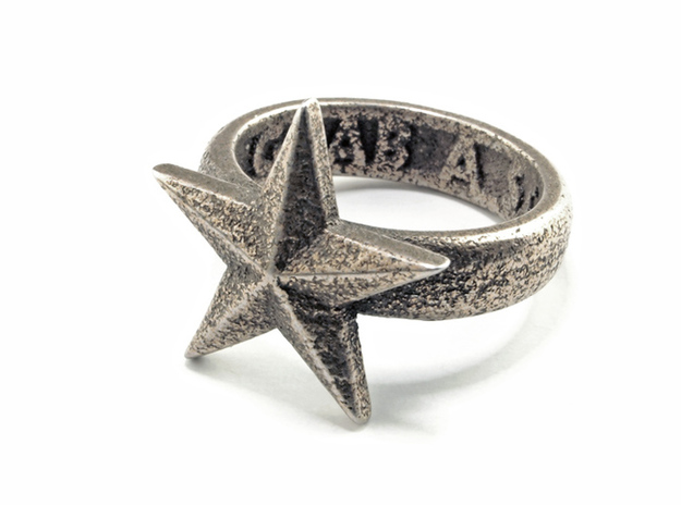 Star Ring (US Size 11) 3d printed Stainless Steel