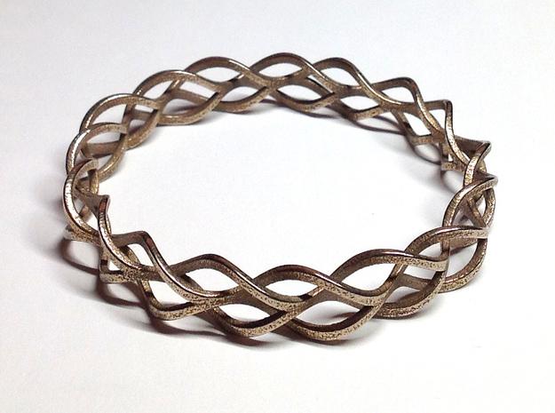 Helix Weave Bracelet (60mm) 3d printed in stainless steel