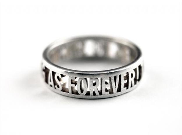 No Such Thing Ring (US Size 8) 3d printed Silver Glossy