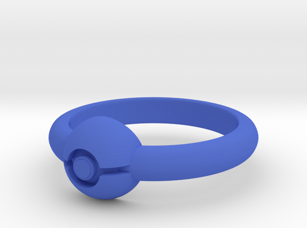 Pokeball Ring - Thin Band (Size 11 1/2) 3d printed