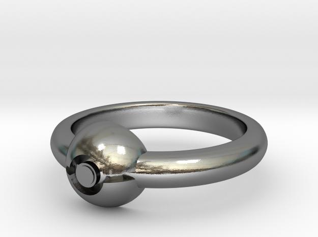 Pokeball Ring - Thin Band (Size 5 1/2) 3d printed