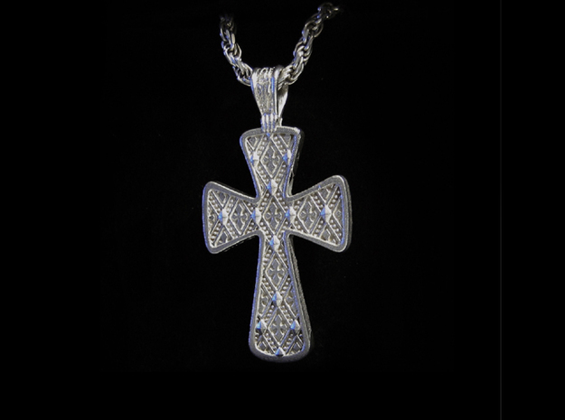 Ornate Cross Pendant - Medium 3d printed Silver - No Patina - No polish