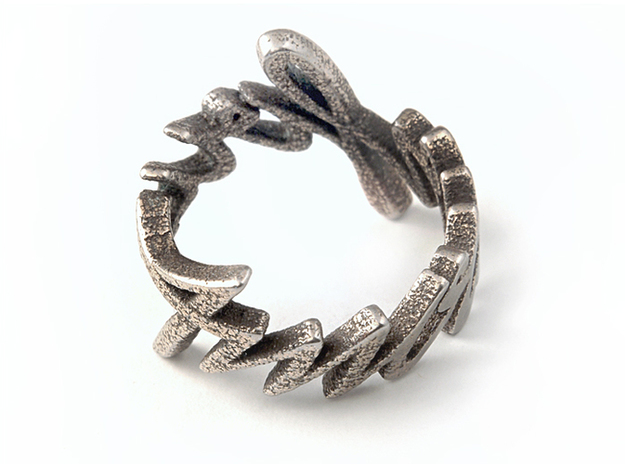 Amour Fou Ring (US Size 10) 3d printed Stainless Steel