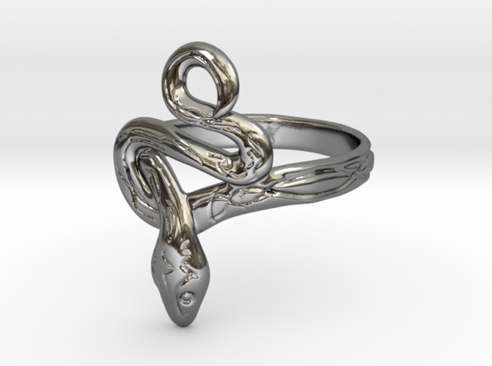 Covetous Silver Serpent Ring, Size 16 3d printed