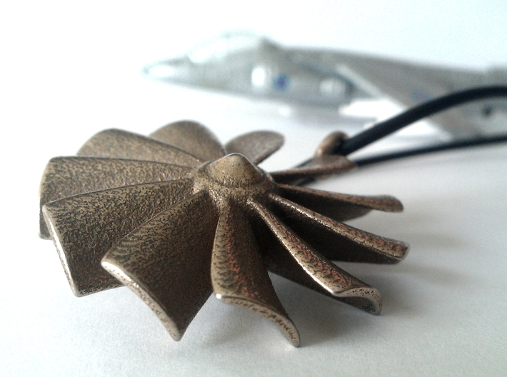 """turbine"" pendant (40 mm) 3d printed Stainless Steel"