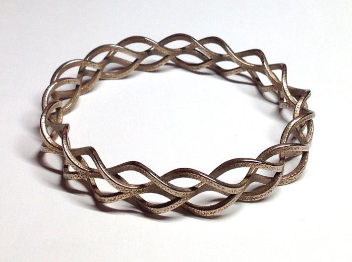Helix Weave Bracelet (70mm) 3d printed in stainless steel
