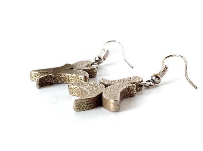 """""""21"""" earrings 3d printed Stainless Steel"""