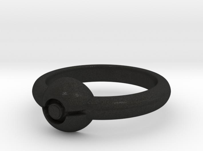 Pokeball Ring - Thin Band (Size 11) 3d printed