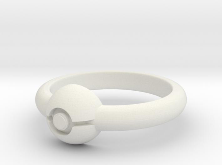 Pokeball Ring - Thin Band (Size 11 1/2) 3d printed