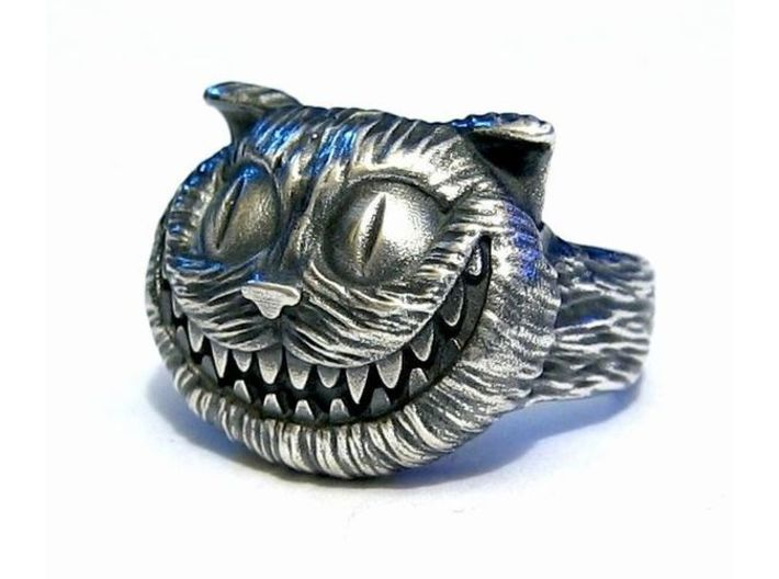 Cheshire Cat - Size 13 3d printed Raw Silver - Aftermarket Patina and lightly polished afterwards