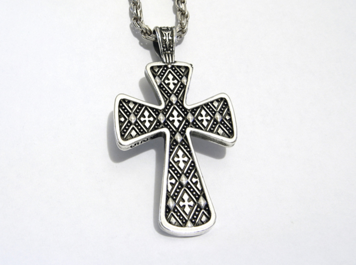 Ornate Cross Pendant - Medium 3d printed Silver - Aftermarket Patina - Lightly Polished