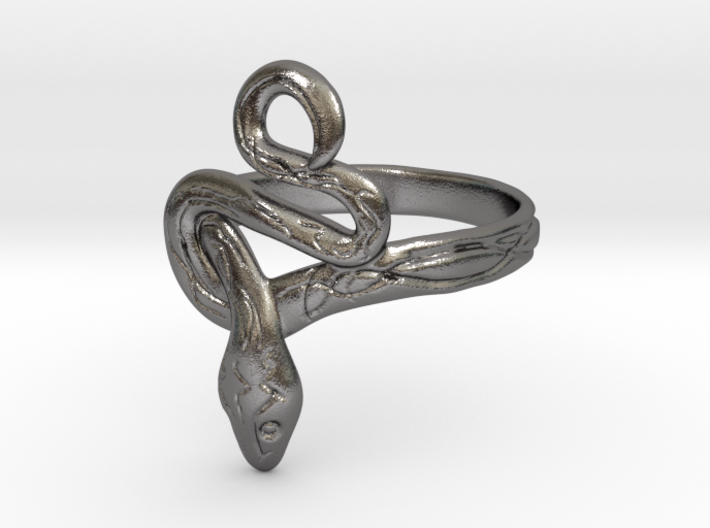 Covetous Silver Serpent Ring, Size 7.5 3d printed